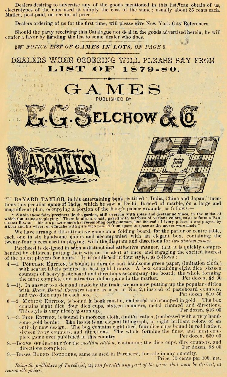 Antique Parcheesi game - EG Selchow and Co from 1879