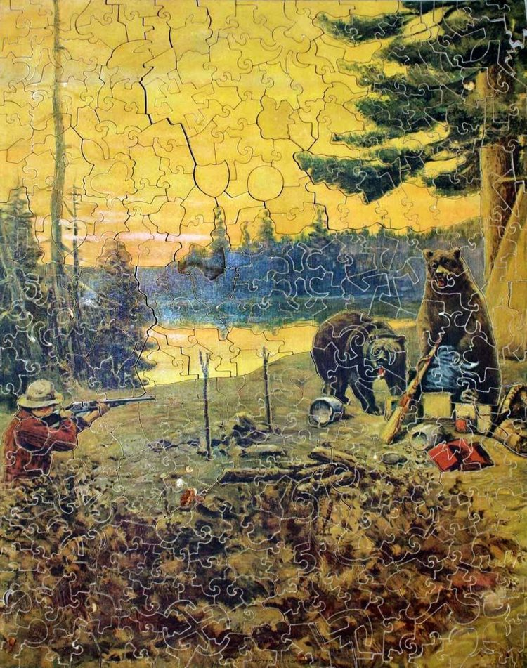 Antique Pastime puzzle from the 1920s - bears in camp
