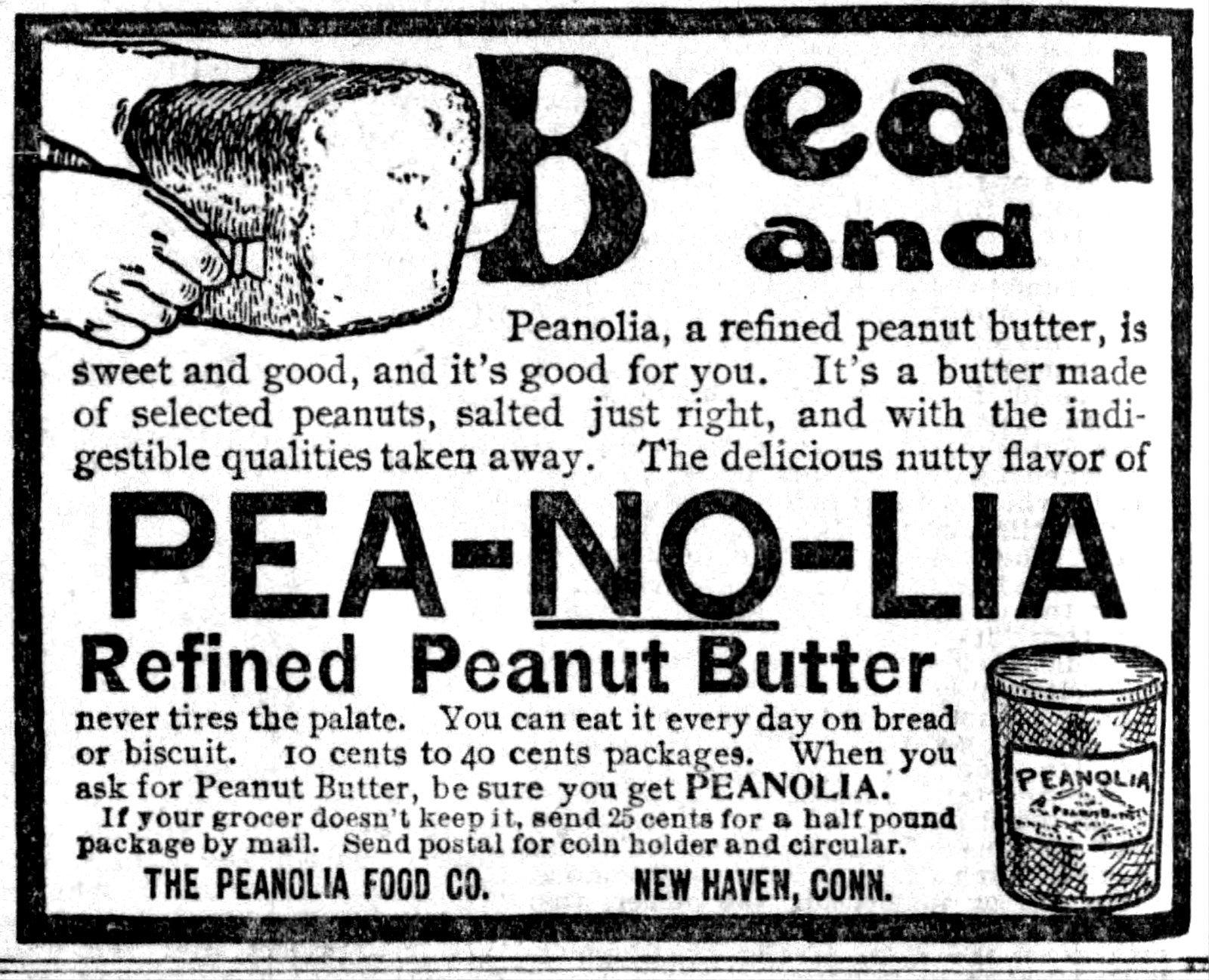 Antique Peanolia peanut butter ad - Hartford Courant (Connecticut) December 12, 1899