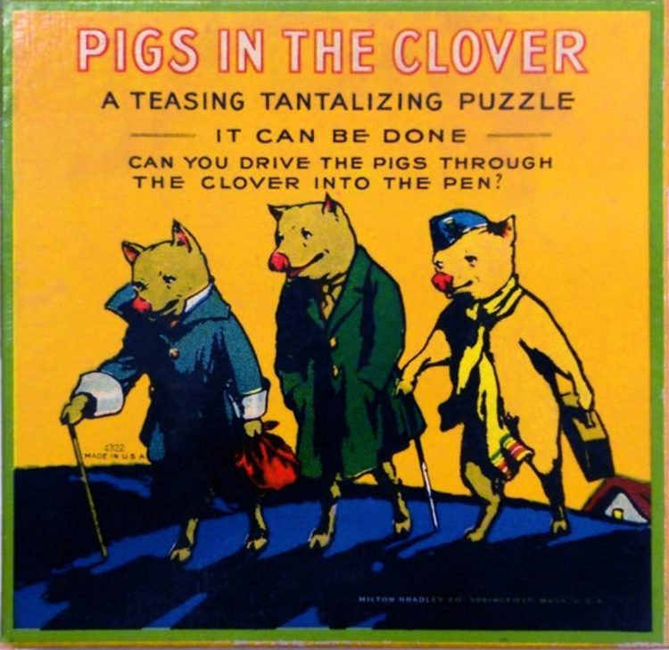 Antique Pigs in the Clover puzzle game from Milton Bradley
