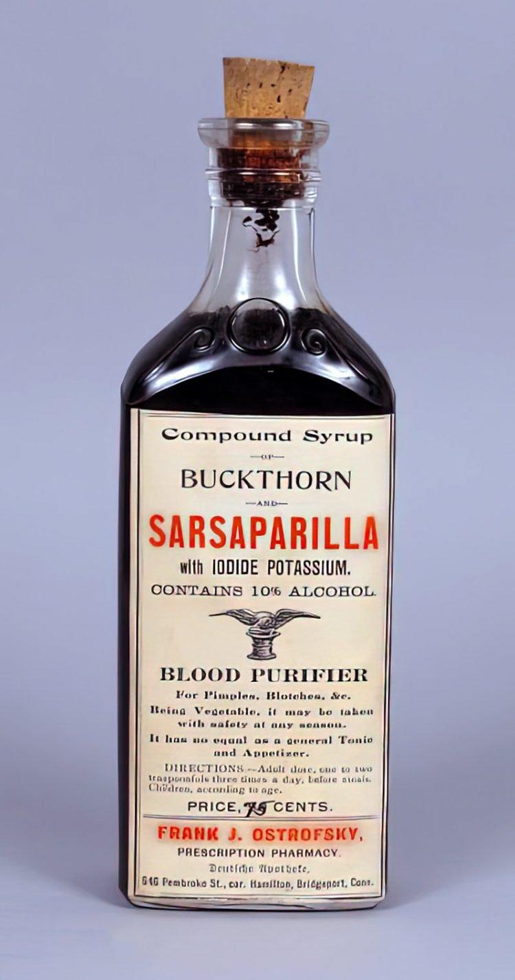 Antique Sarsaparilla and Buckthorn syrup medicine bottle c1906