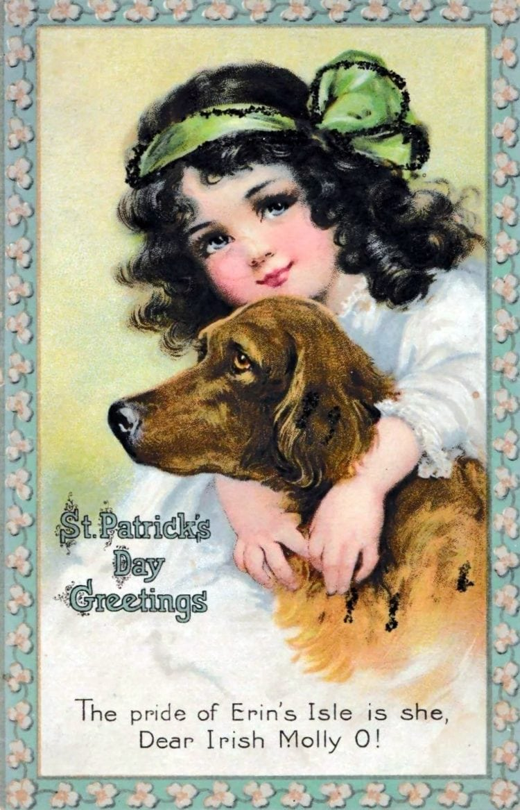 Antique St Patrick's Day card - girl with Irish Setter dog