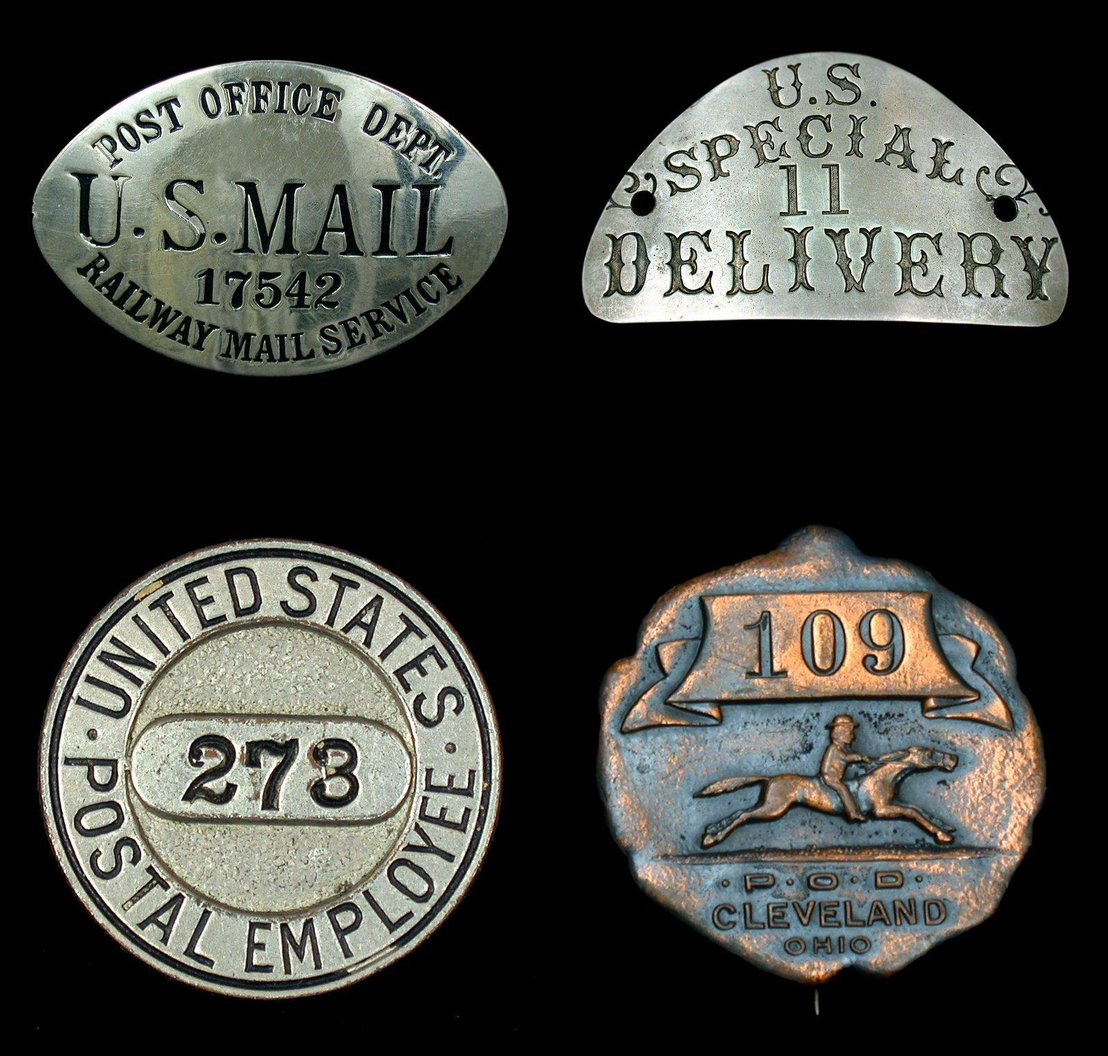 Postal service history: Antique USPS postal service badges and pins