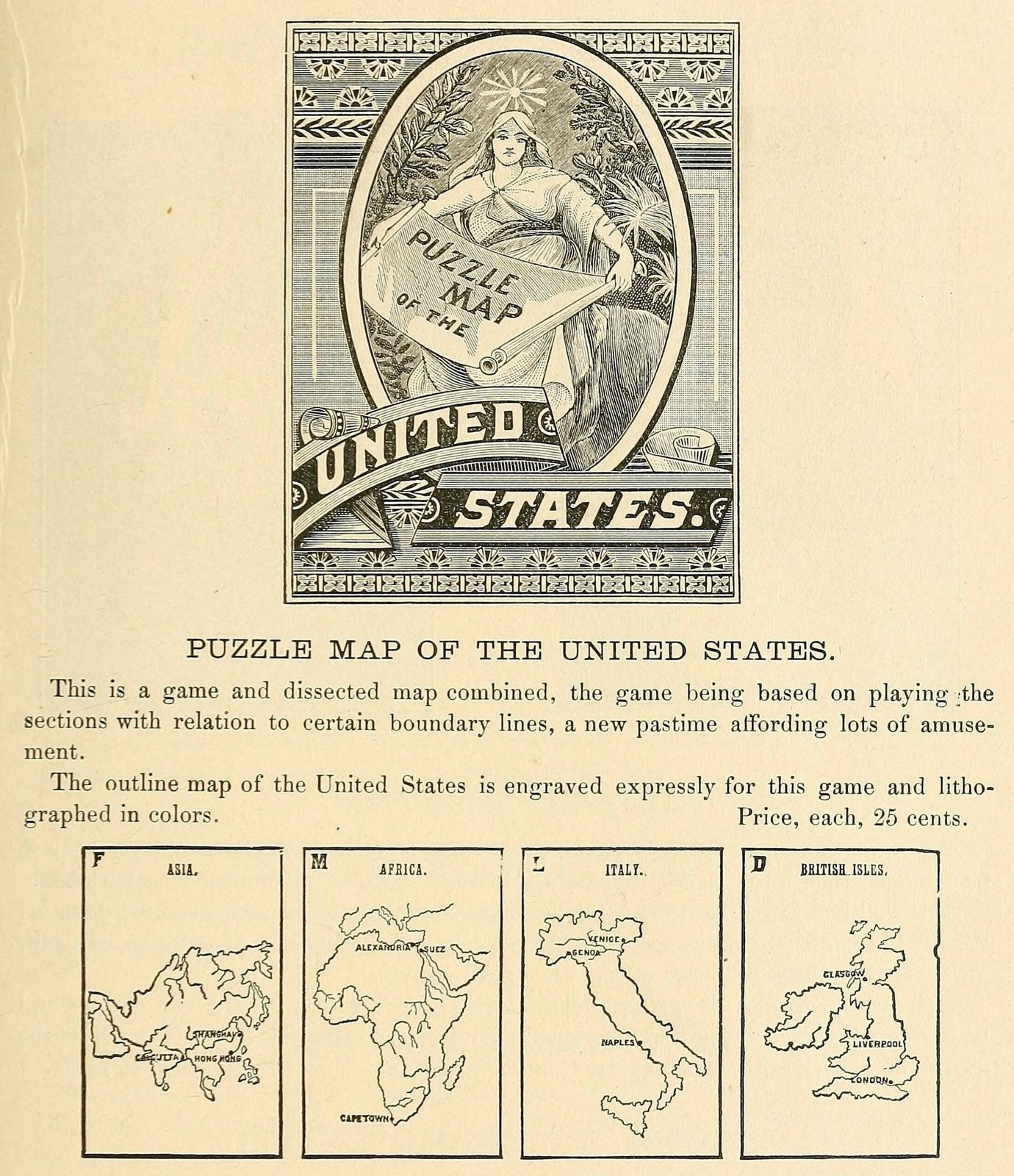 Antique United States puzzle map
