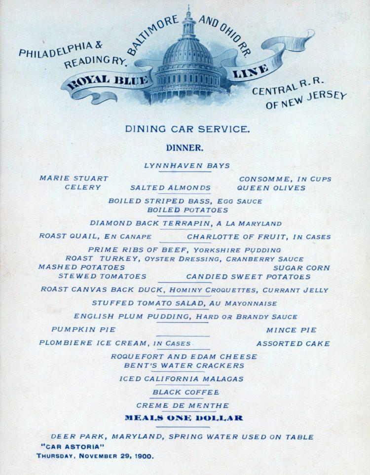 Antique Victorian Thanksgiving dinner menu Train car 1900