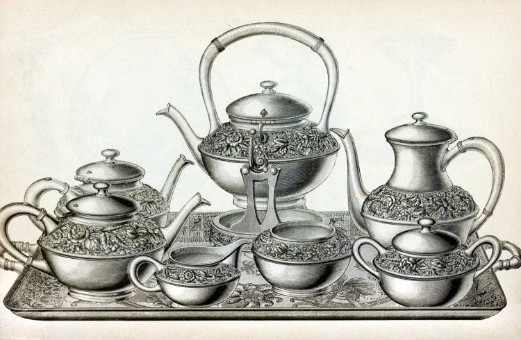 Antique Victorian silver tea set