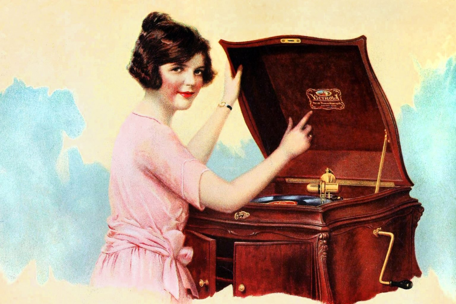 Antique Victrola record machine of wood from the 1920s