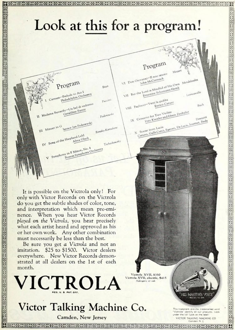 Antique Victrola gramophones and vintage music
