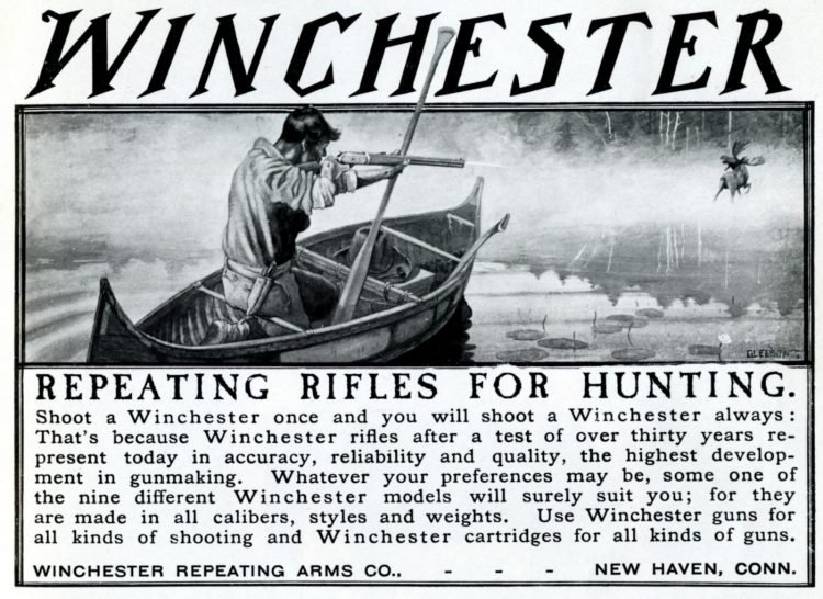 Antique Winchester Repeating rifles for hunting from 1905