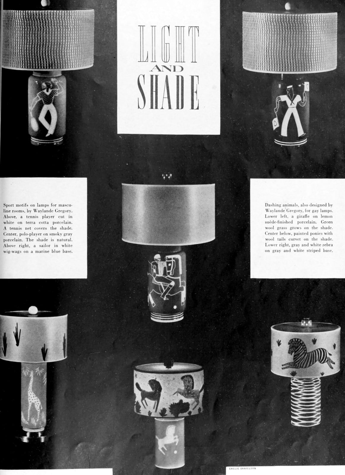 Antique artistic masculine lamp styles (1936)