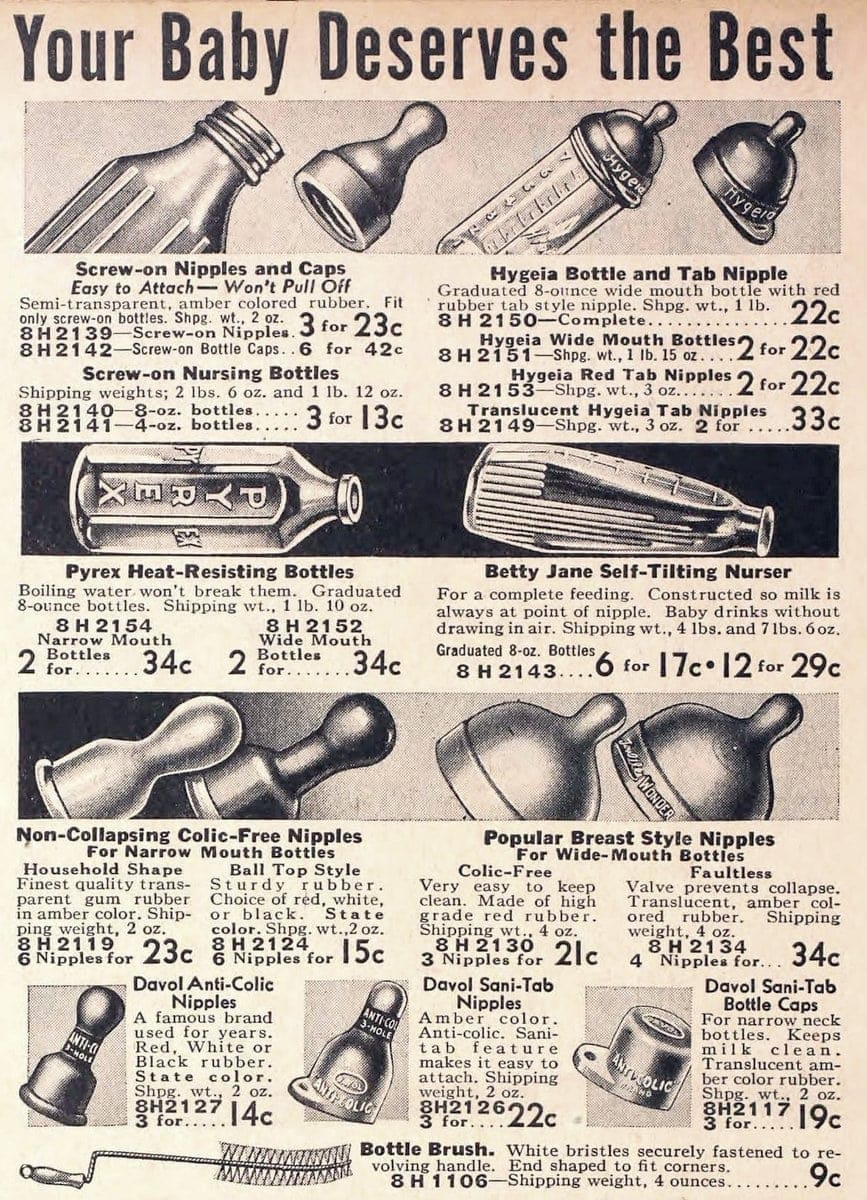Antique baby bottles and feeding nipples from 1938
