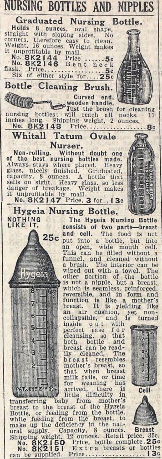 Antique baby bottles from 1912