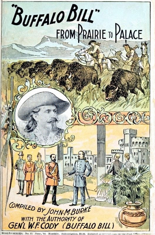 Antique book cover - Buffalo Bill - From Prairie to Palace