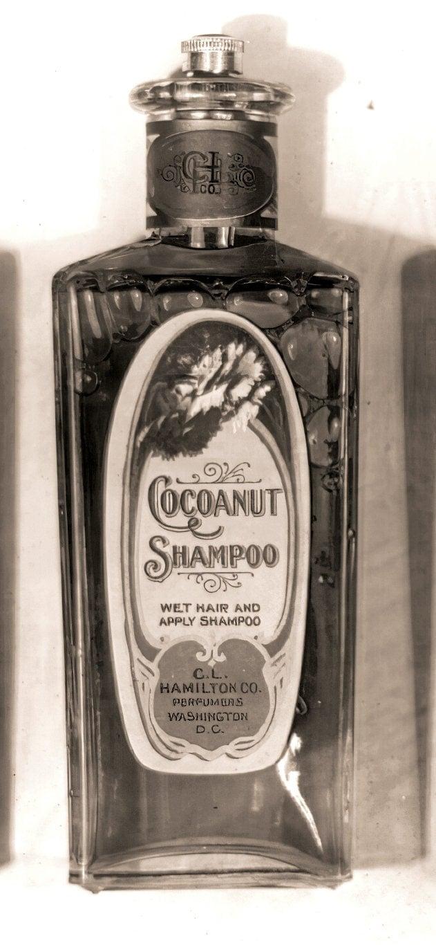 Antique bottle of CL Hamilton Cocoanut Shampoo