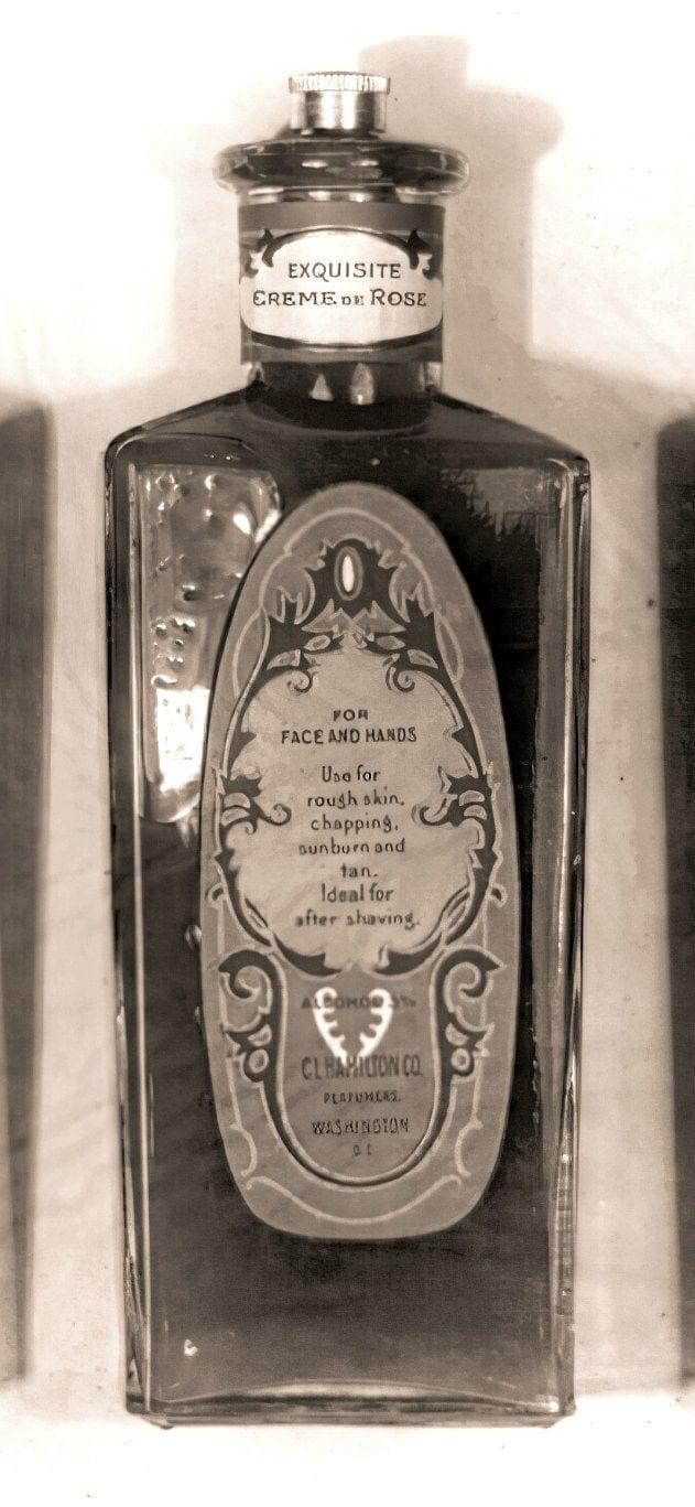 Antique bottle of CL Hamilton Exquisite Creme de Rose lotion