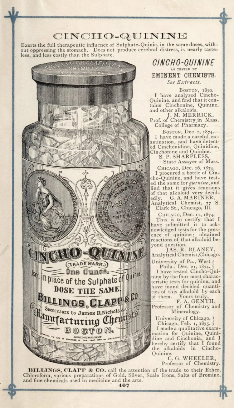 Antique bottle of Cincho-Quinine from an old drugstore (1875)