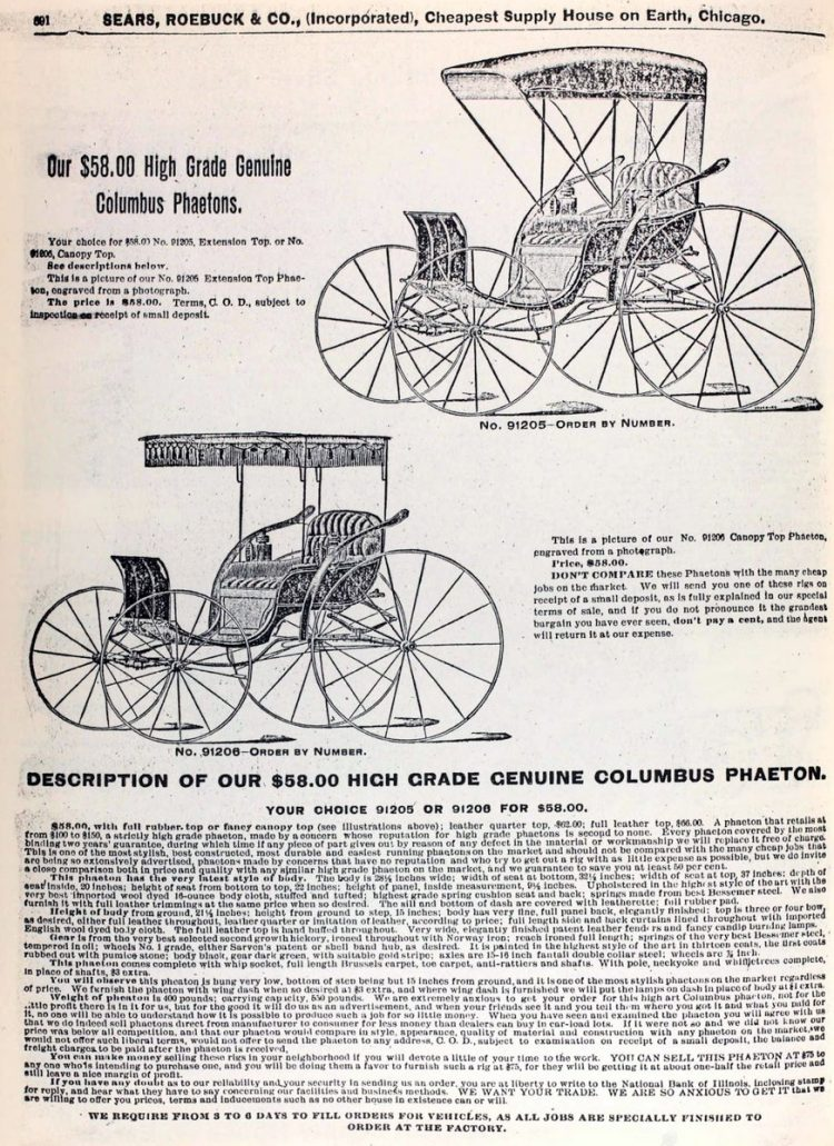 Antique buggies from 1894