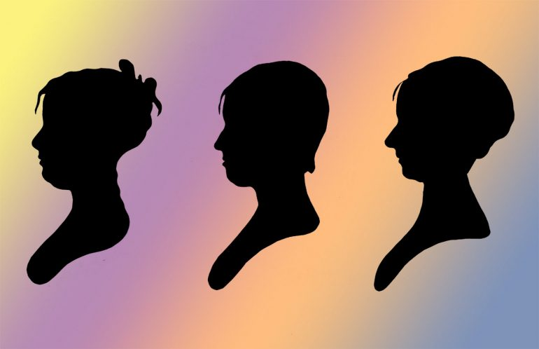 Antique bust silhouettes - Old portraits of women