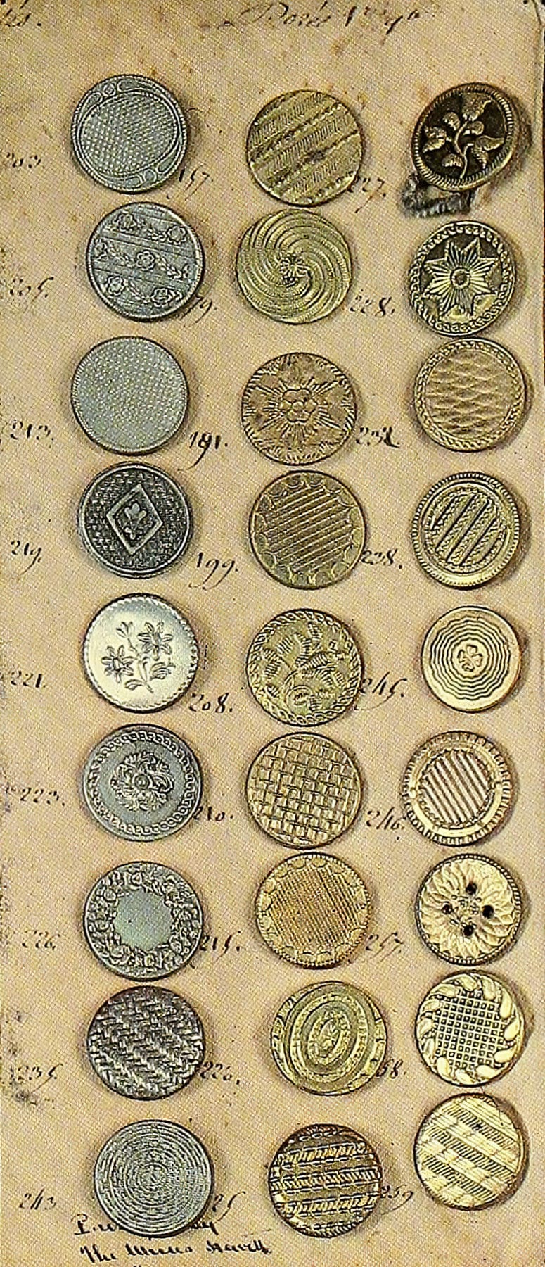 Antique buttons in the collection of the Cooper-Hewitt Museum as of 1982