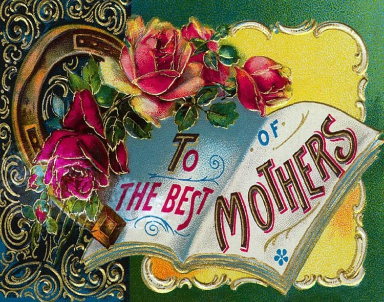 To the best of mothers: Antique mother's day postcard with roses