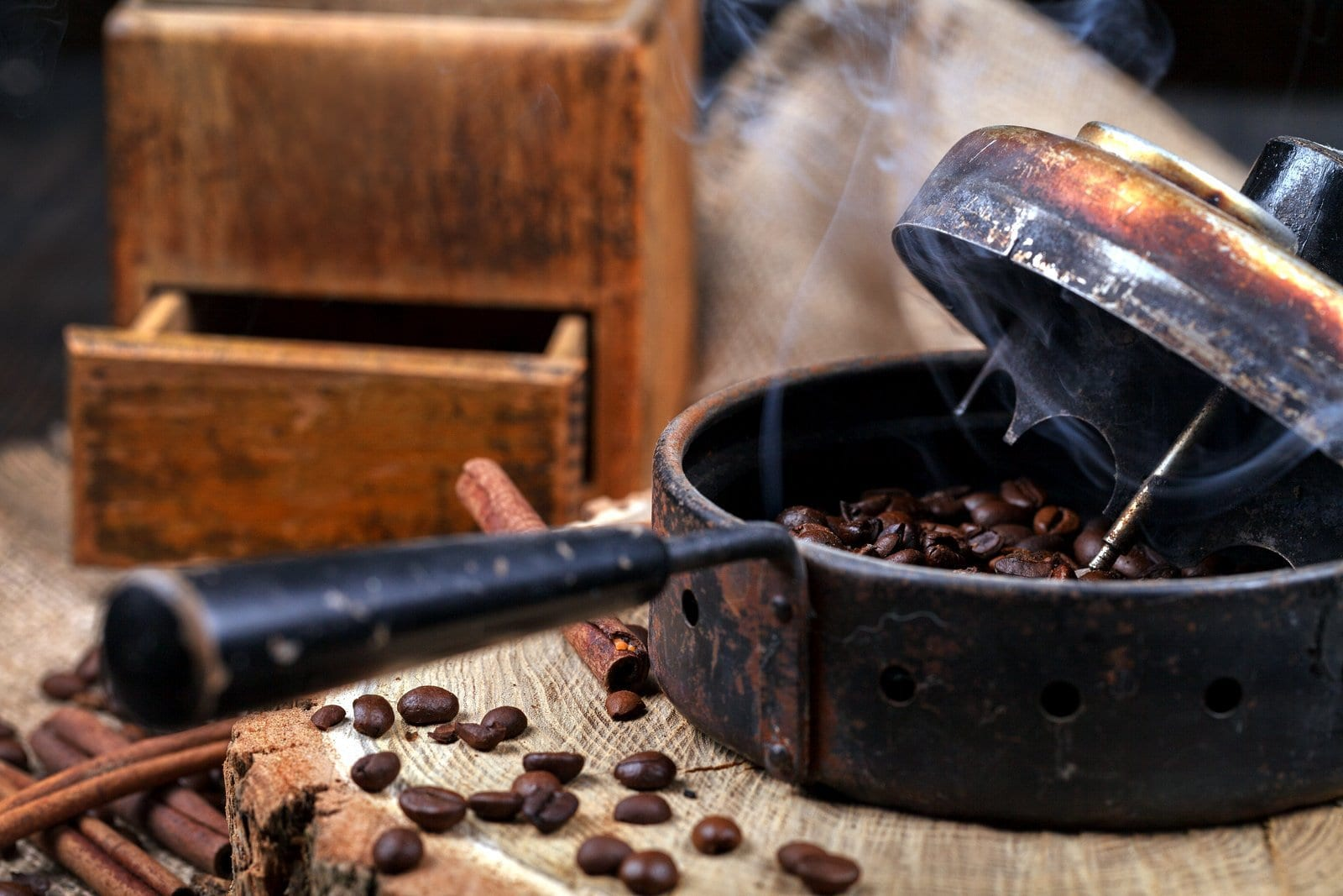 Antique coffee roaster to make coffee the old-fashioned way