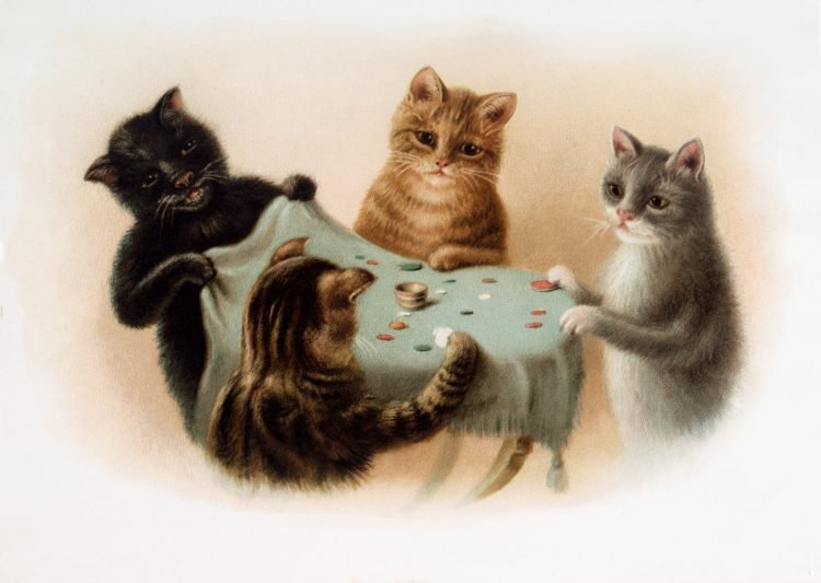 Antique cute image of cats playing tiddly winks