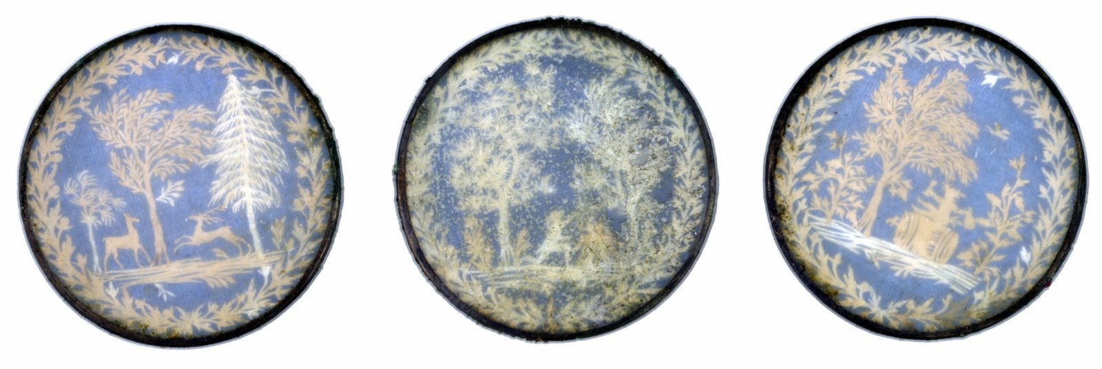 Antique decoupage silk buttons from 1775-1780