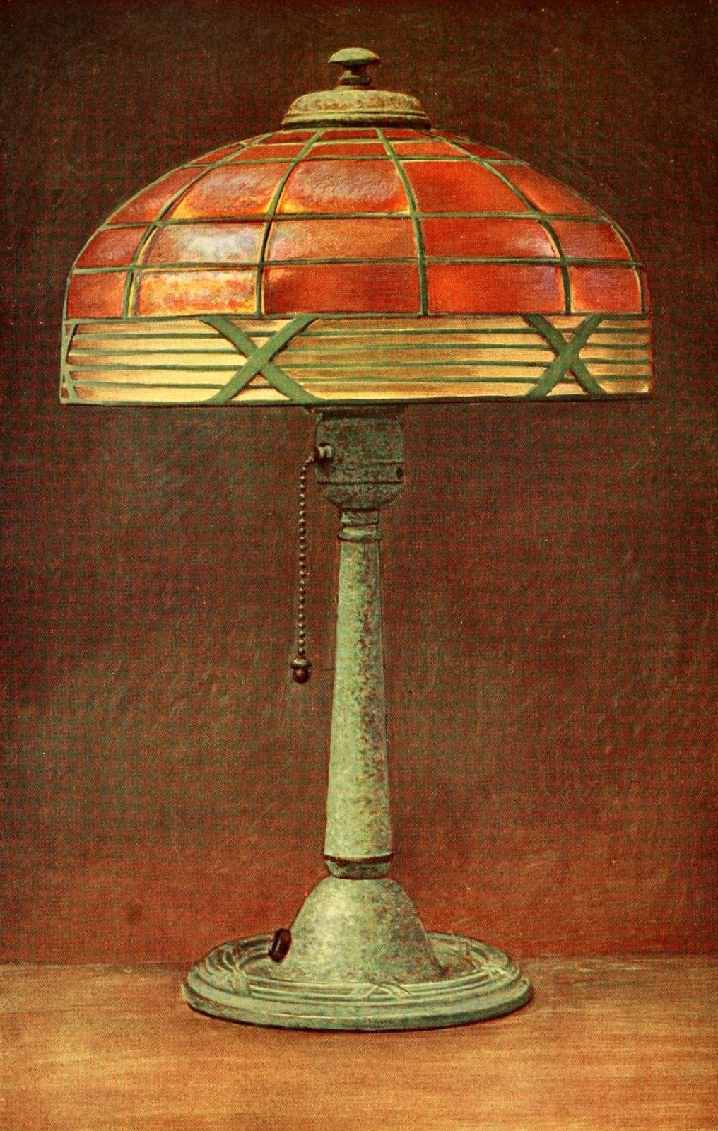 Antique desk lamp with stained glass shade (1912)