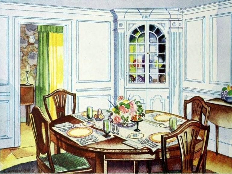 Antique dining room in vintage home (1)