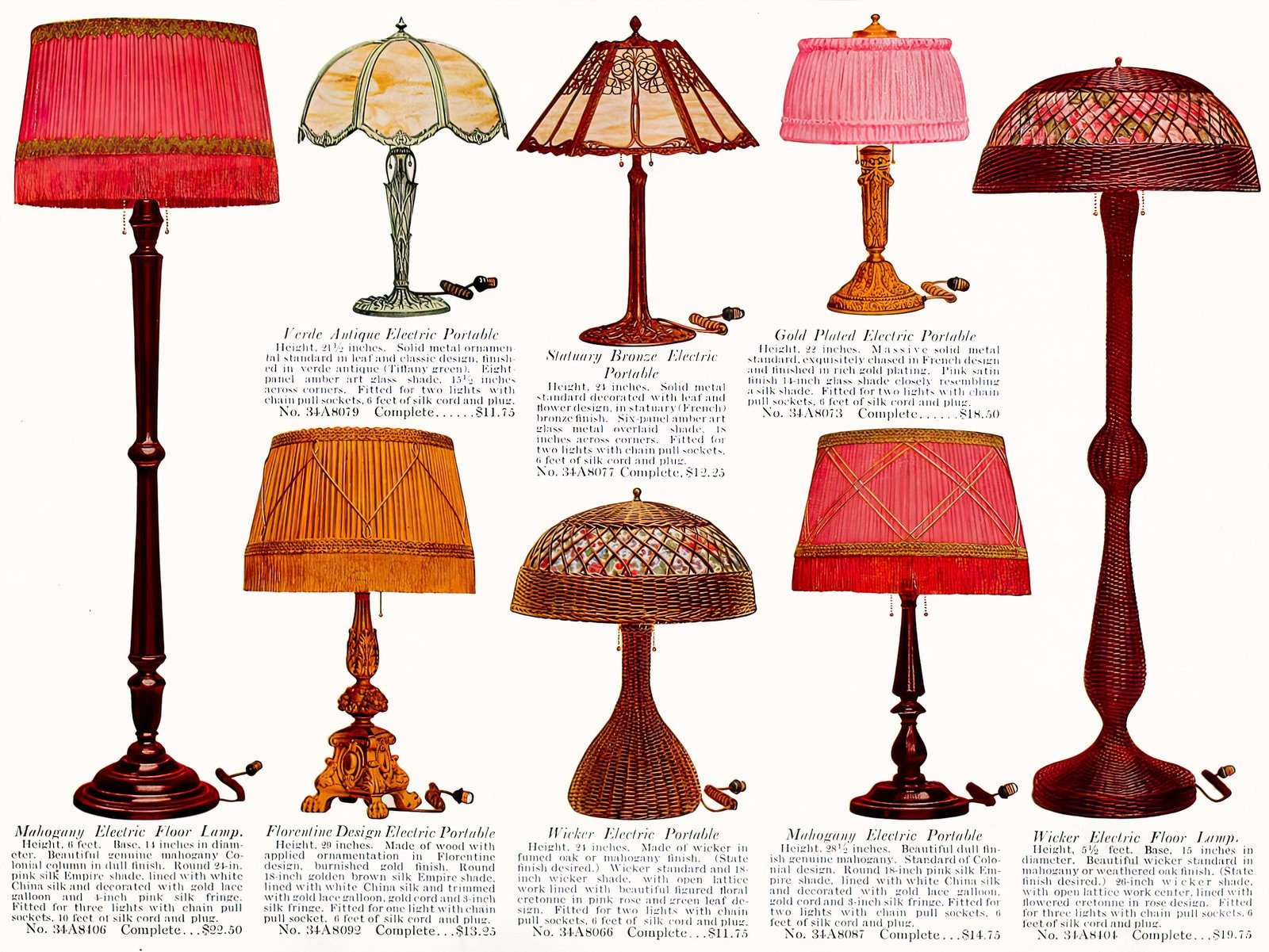 Antique electric table lamps from the early 1900s