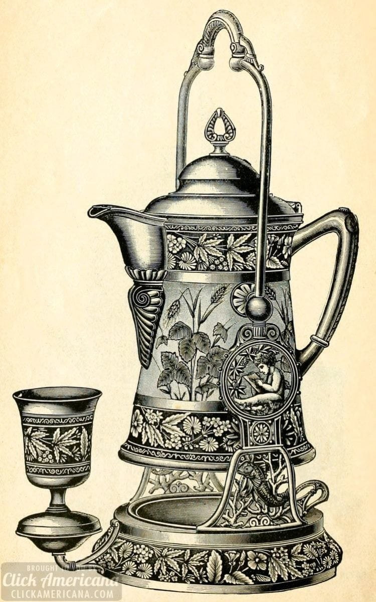 Antique engraved tilting pitcher water set with cups 1889