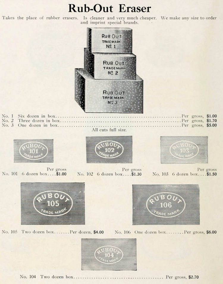Antique erasers from 1912