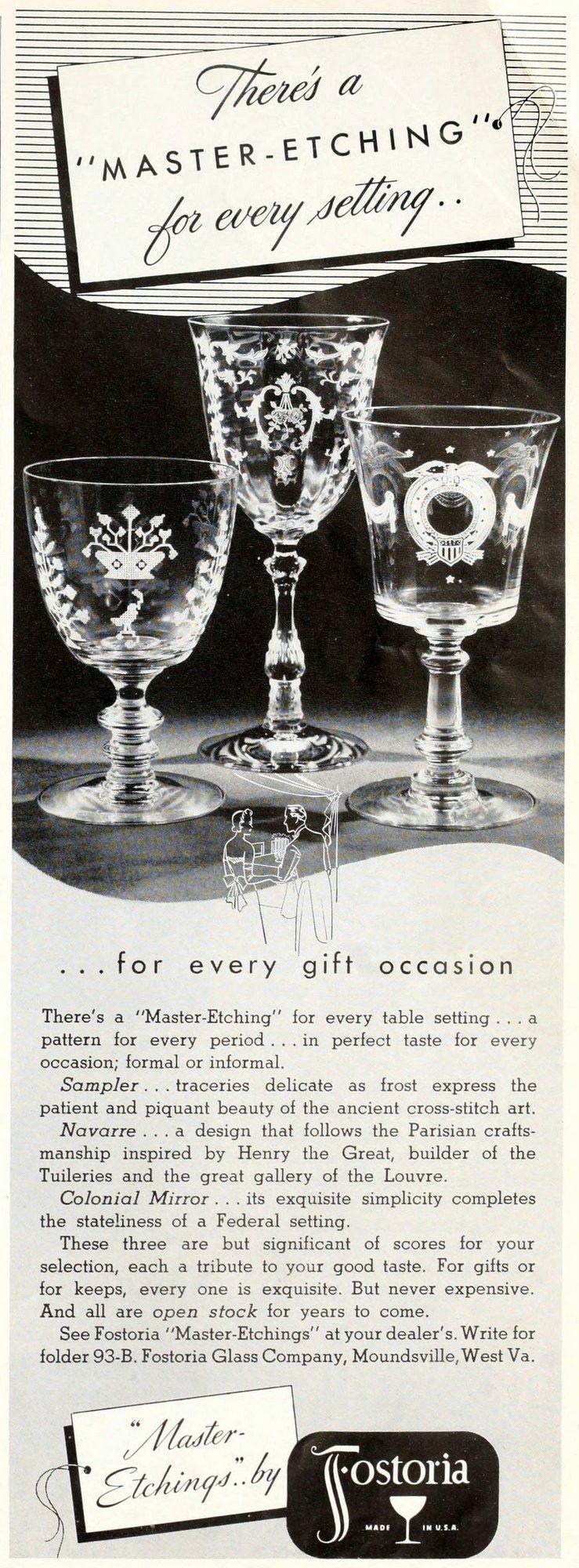 Antique etched Fostoria stemmed glasses (1939)