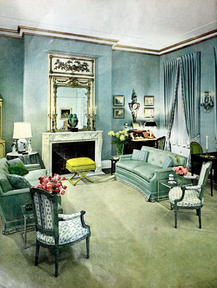 Antique fireplace style in the 1960s