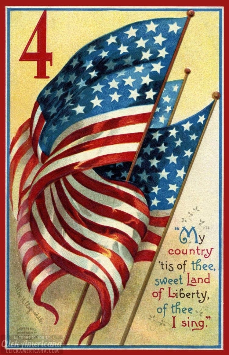 Antique flag postcard for Independence Day