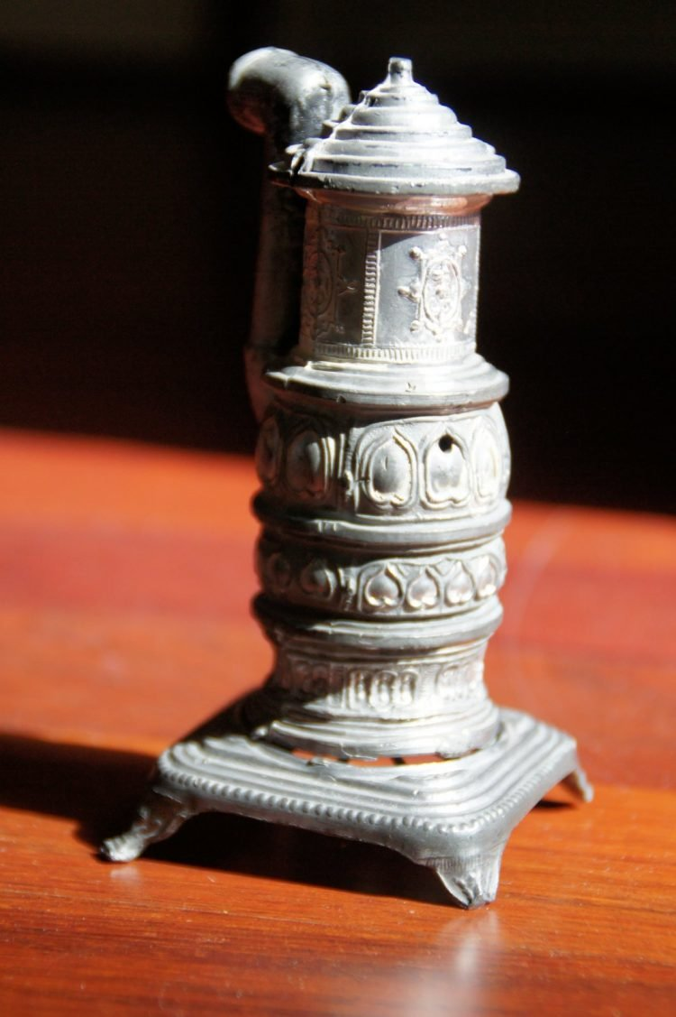 Antique furnace stove metal toy for dollhouse