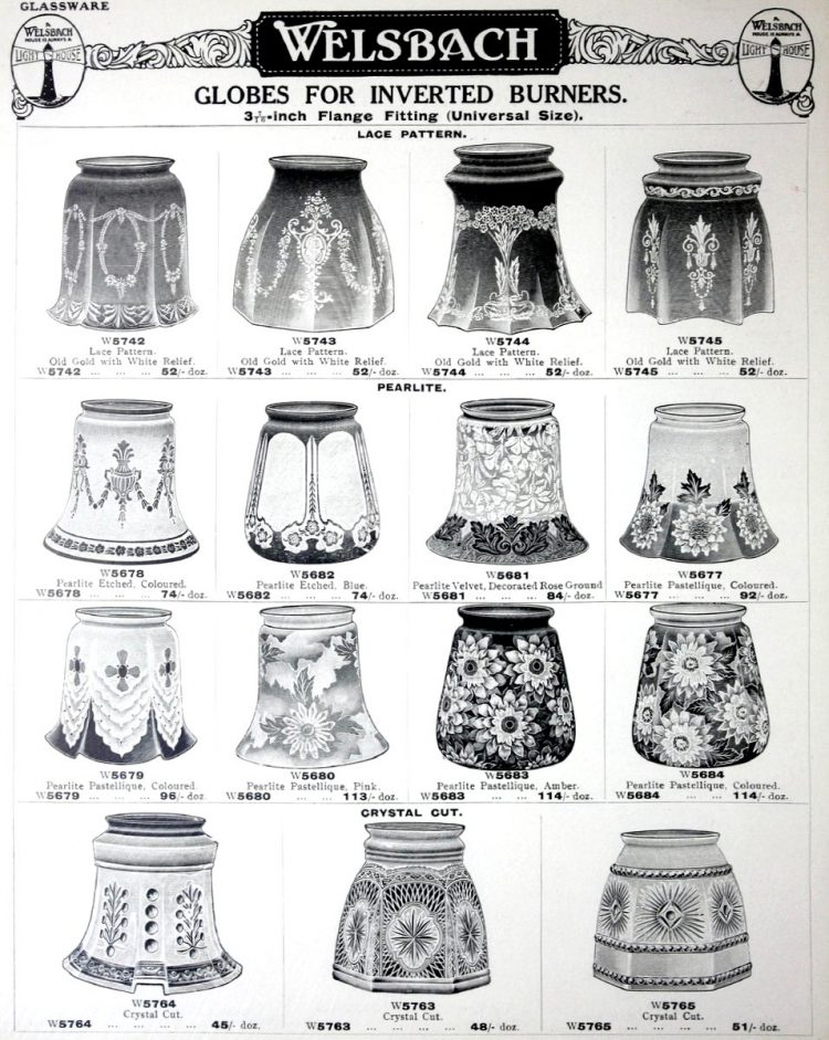Antique gas light globes from 1923 (4)