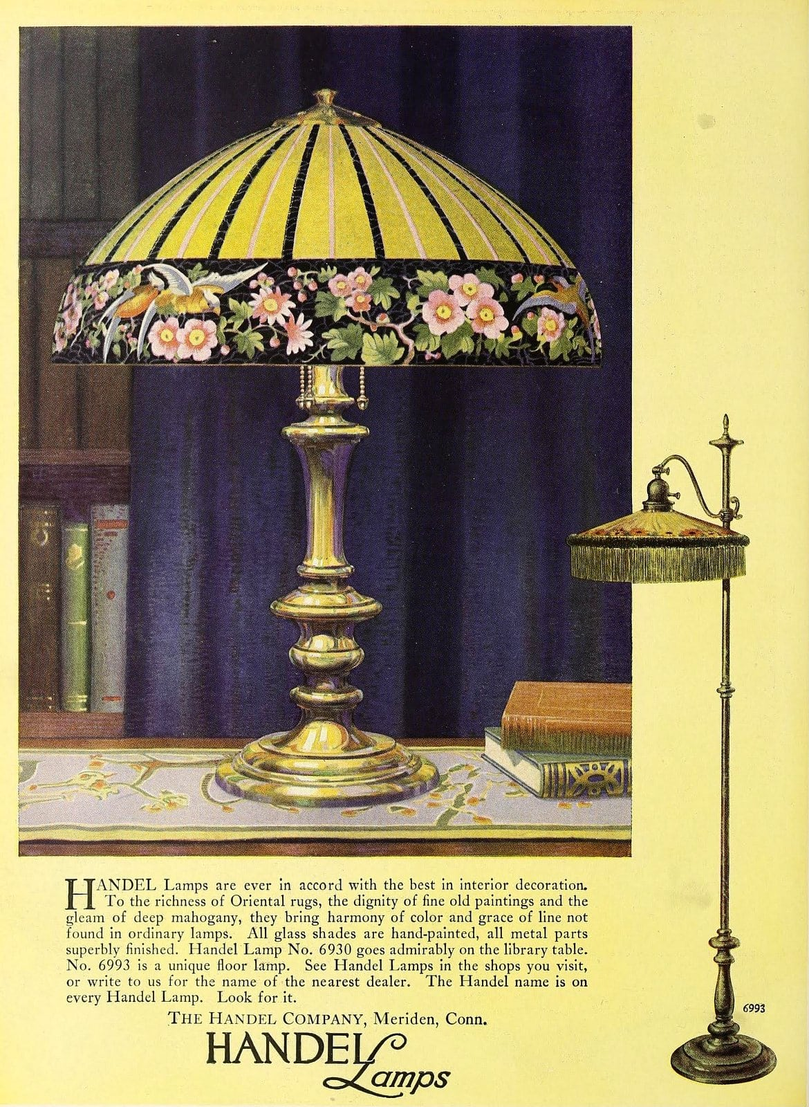 Antique glass shade table lamp from Handel (1922)