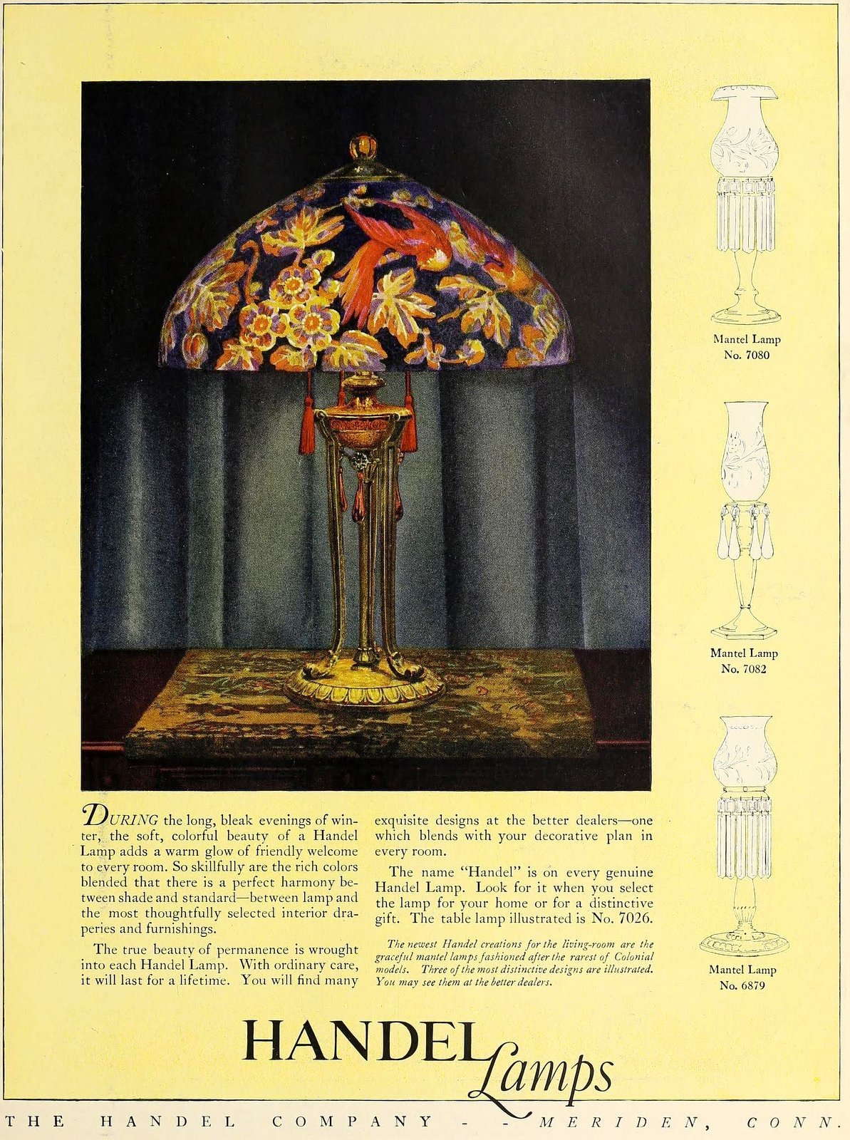 Antique glass shade table lamp from Handel (1923)
