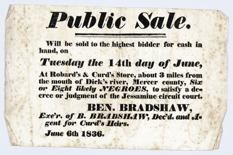 Antique handbill with slaves for sale - 1800s (1)