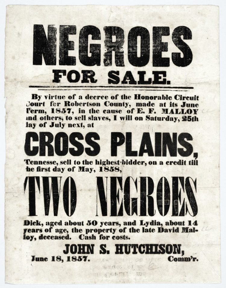 Antique handbill with slaves for sale - 1800s (2)