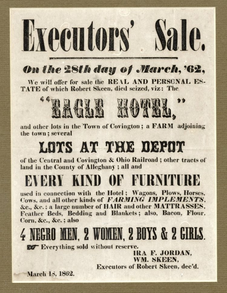Antique handbill with slaves for sale - 1800s (3)