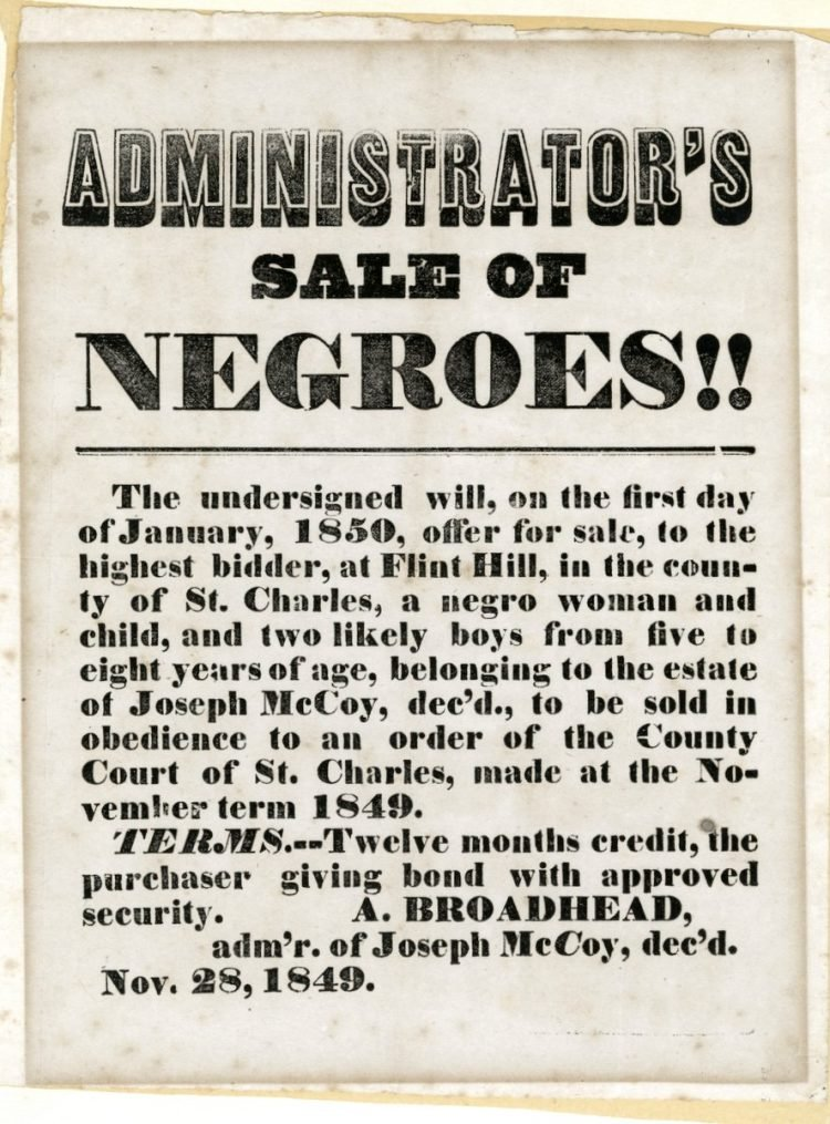 Antique handbill with slaves for sale - 1800s (4)
