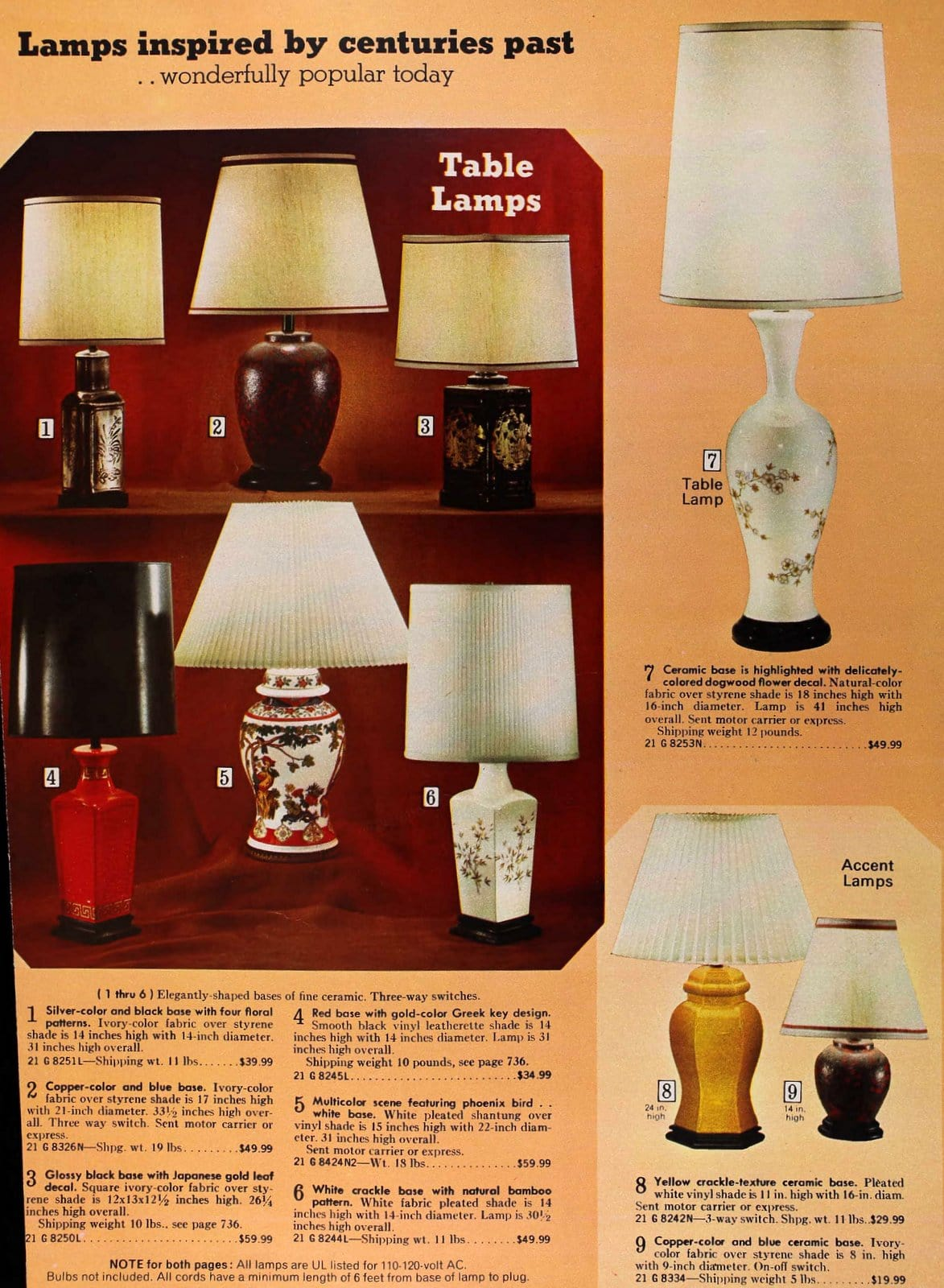 Antique-inspired lamps from the seventies (1973)