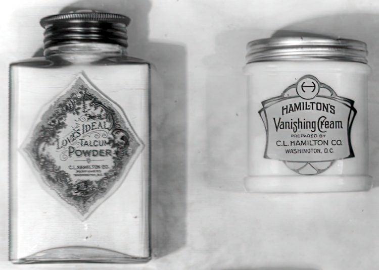 Antique jar and bottle of Love's Ideal talcum powder and Hamilton's Vanishing Cream