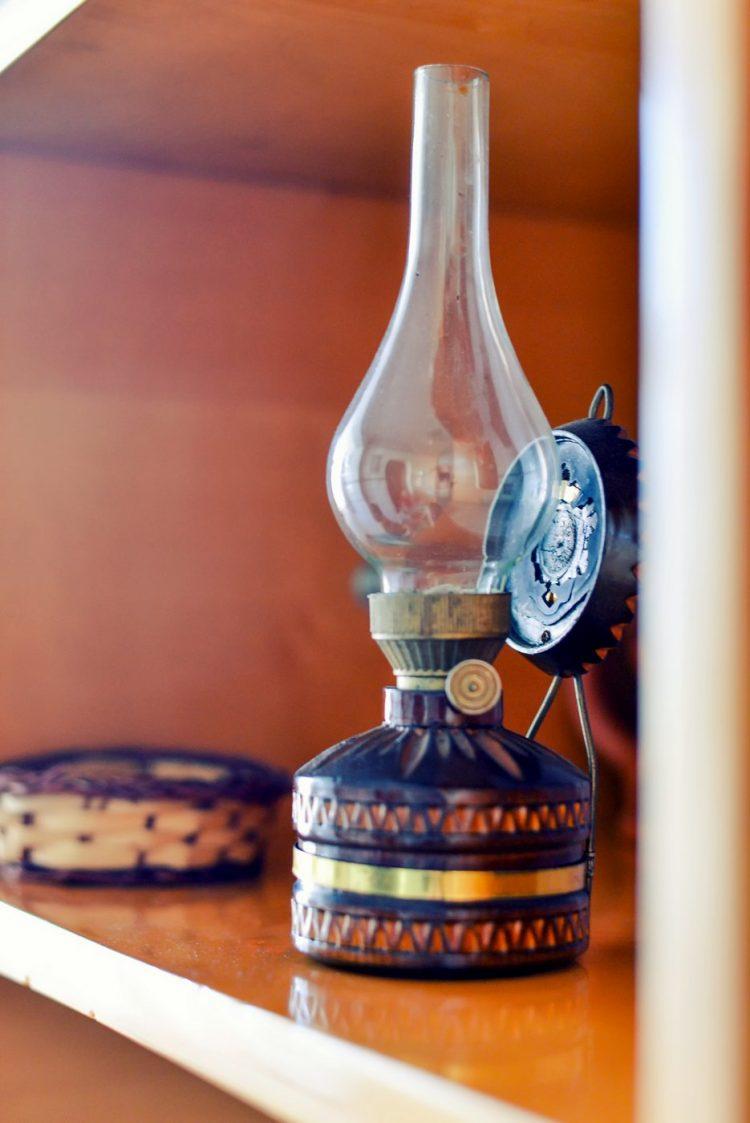 Antique kerosene gas lamp