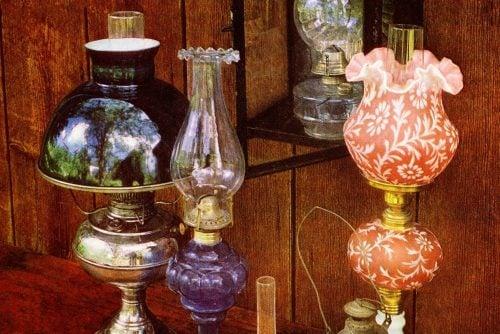 Antique kerosene lamps