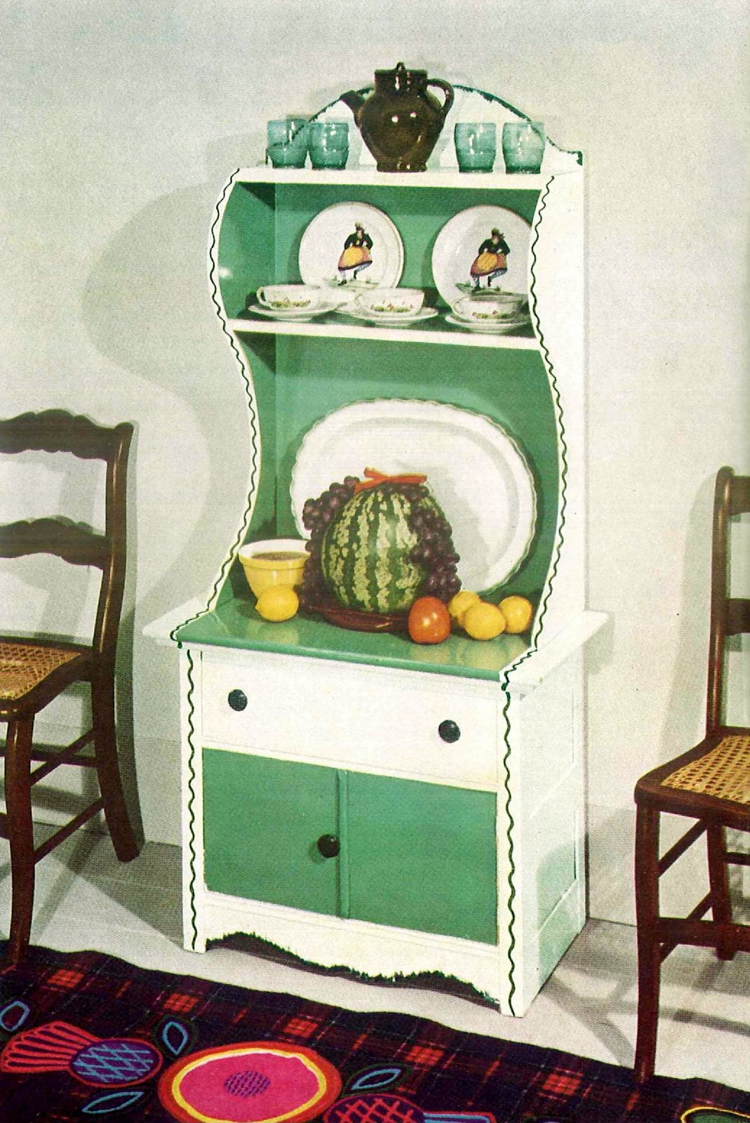 Antique kitchen hutch painted white and green