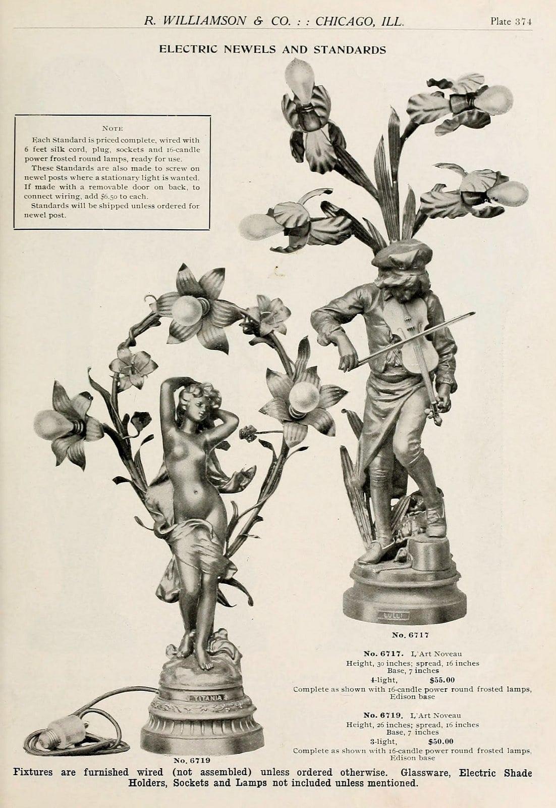 Antique lamp designs from around 1910 (1)