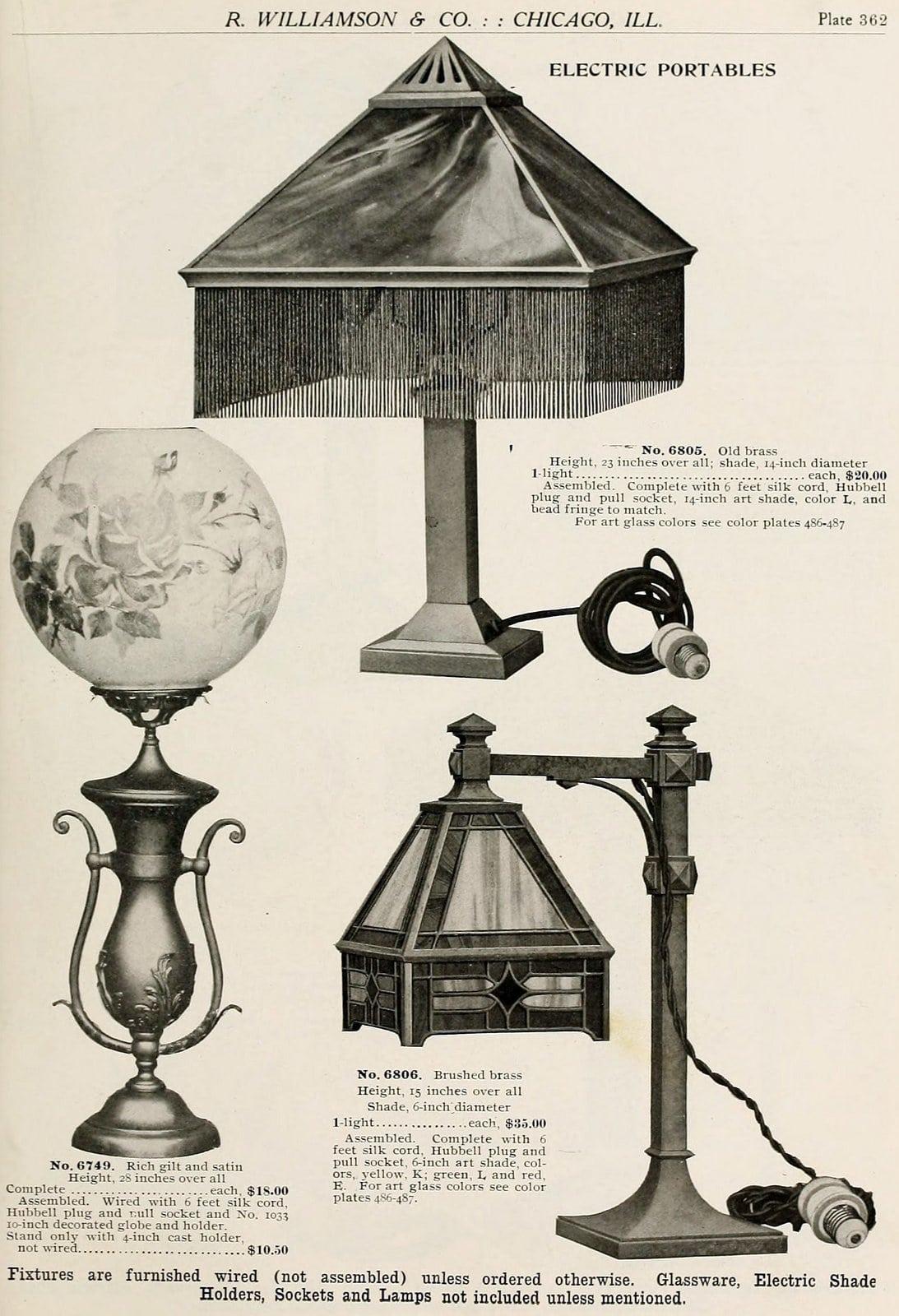 Antique lamp designs from around 1910 (2)